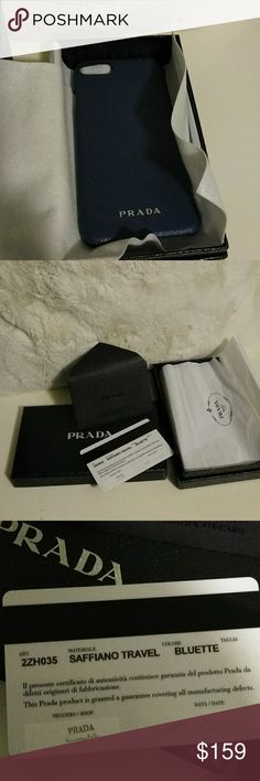 Prada iPhone 6 case Blue Prada iPhone case with authentic card and box Prada Accessories Phone Cases