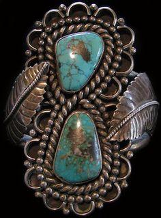 Large Format Old Navajo Pawn Turquoise Bracelet