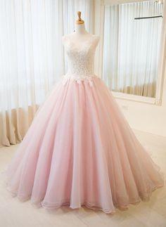 Lace Prom Dress,Pink Graduation Dress,Ball Gown Lace Evening Dress