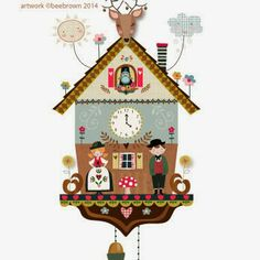 Bee Brown's Design Hive -- illustrated cuckoo clock