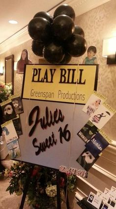 Broadway themed Sweet 16 sign in board