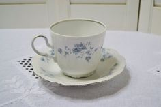Vintage Haviland Blue Garland Cup and Saucer by PanchosPorch