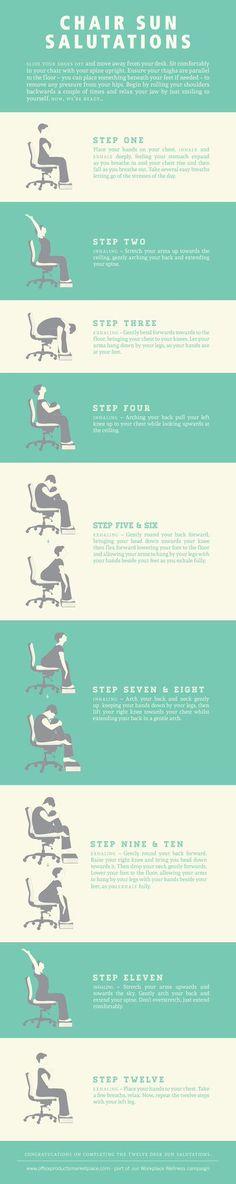 Heb je geen tijd de zon buiten te begroeten; met deze fijne #yoga serie kan 't achter je bureau. Beter iets dan niets