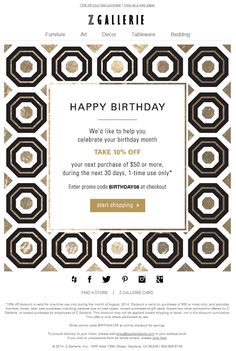 Z Gallerie birthday email 2014