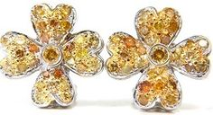 #Jewelry 2.50ct Natural Fancy Color Diamonds Cluster Clover Earrings 14kt