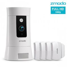 Zmodo Pivot Cloud HD All-in-One Smart Hub Wireless Rotating Security Camera System with 4 Pack Door Window Sensors (White) Wireless Security Cameras, Wireless Home Security Systems, Security Cameras For Home, Security Surveillance, Security Service, Home Camera, Ip Camera, Wifi, Hd 1080p