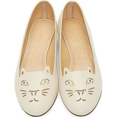 Charlotte Olympia Ivory Leather Laser Cut Kitty Flats (€380) ❤ liked on Polyvore featuring shoes, flats, leather sole flats, ivory flats, low top, cut-out flats and round toe flats