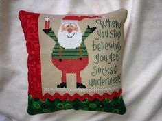 Lizzie Kate  Christmas Cross Stitch Pillow  When by homecrafting, $22.50