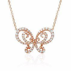 Diamond 18k Rose Gold Butterfly Pendant Necklace
