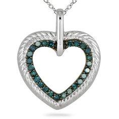 1/4 Carat Blue Diamond Heart Pendant in 10K White Gold