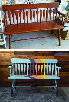 Before and After of hallway bench painted in Chalk Paint™. Work by Katrina at Malenka Originals. For colours used, follow the link to the Malenka Originals blog.