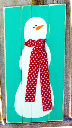 Pallet Wood Hand-Painted Snowman Sign Pallet Wood by ladybugsspot