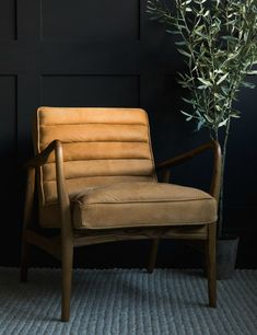 Mid-Century Leather Armchair - Tan | Rose & Grey