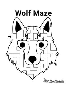 Dyslexia Activities, Preschool Activities At Home, Activities For Boys, Mazes For Kids Printable, Worksheets For Kids, Free Printables, Maze Games For Kids, Cub Scouts Wolf, Wolf Craft