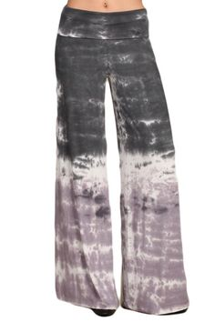 Womens Gray Lavender Hand Dyed Tie Dye Fold Over Waist Wide Leg Pant