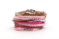 Wrap Bracelet Pink Fuchsia Brown Wrap Bracelet Pink by cardioceras