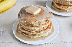 whole wheat brown sugar banana bread pancakes with vanilla maple glaze