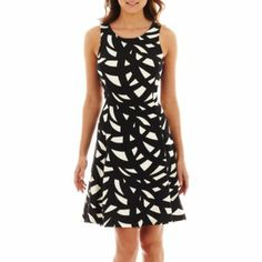 Worthington® Sleeveless Print Fit-and-Flare Dress  found at @JCPenney