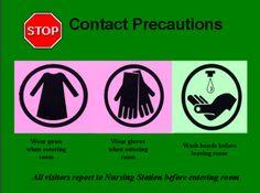 Contact Precautions - Infection Control at SickKids Contact Precautions, Bacteria Cartoon, Nursing Party, Student Orientation, University Of Manitoba, Clinical Nurse, Fundamentals Of Nursing, Infection Control, Nurse Stuff