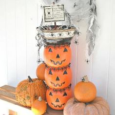 stacked jack o lantern candy bowl topiary, gardening, outdoor living