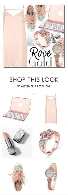 """""""So Pretty: Rose Gold Jewelry"""" by beebeely-look ❤ liked on Polyvore featuring River Island, Burberry, Miu Miu, chic, jewelry, rosegold, holidaystyle and gearbest"""