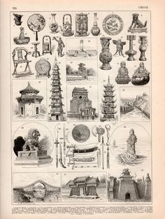 1897 Chinese Architecture Antique Print Vintage by Craftissimo