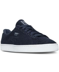 c8c557a71 Puma Men s Basket Classic Embossed Wool Casual Sneakers from Finish Line -  Blue 10.5 Baskets For