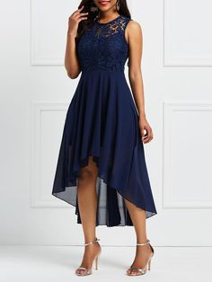 New Style Lace Sleeveless Patchwork Irregular Maxi Dress Gala Dresses, Blue Dresses, Evening Dresses, Formal Dresses, Cocktail Outfit, Beaded Prom Dress, Prom Dress Shopping, Asymmetrical Dress, Chiffon Dress