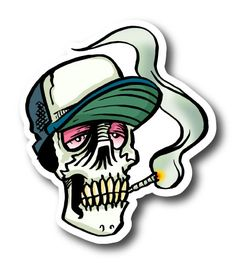 Smoker Skull With Joint Sticker | Vinyl Stickers | Marijuana Stickers | Clear Stickers