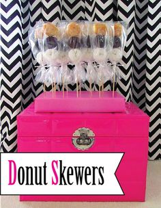 Donut Skewers {3 flavors of donuts on a skewer wrapped in a clear bag}