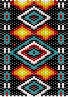 I've always loved Native American bead work. The colours are so vibrant. Huichol art especially so. Native American Patterns, Native American Design, Native American Crafts, Native Design, Peyote Stitch Patterns, Seed Bead Patterns, Beading Patterns Free, Quilting Patterns, Beading Tutorials