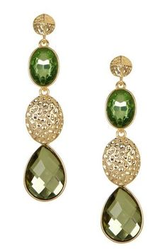 Cute olive green jewels and gold earrings