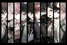 Kaito Momota, Nagito Komaeda, Mahiru Koizumi, Hajime Hinata, Saihara Shuichi, Himiko Yumeno, Korekiyo Shinguji, Tsumugi Shirogane, Oma Kokichi and Byakuya Togami // DanganRonpa Trigger Happy Havoc, New DanganRonpa V3 Killing Harmony and Super DanganRonpa 2 Goodbye Dispair