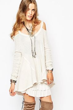 Over the Moon Cold Shoulder Waffle Knit Sweater - ShopLuckyDuck  - 1