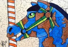 "Aceo Original ""CAROUSEL EARTH HORSE"" pencil/ink on canvas paper ON EBAY"