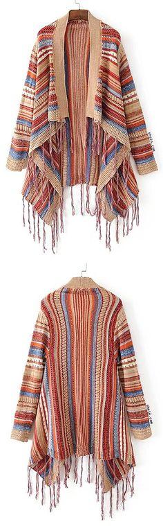 Fringe Hem Open Front Poncho Sweater