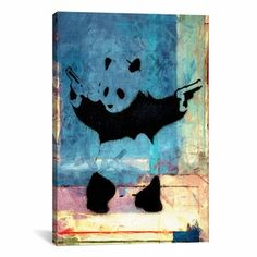 iCanvasART Banksy Panda with Guns Blue Square Canvas Print Wall Art