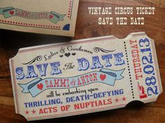 Save the Date with a Vintage Style Circus Ticket!  |  in the treehouse