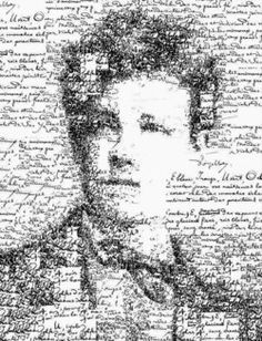 Arthur Rimbaud: From a series of collage portraits of great poets and composers using bits and pieces of their manuscripts, music sheets and calligraphy signatures. By Sergio Albiac