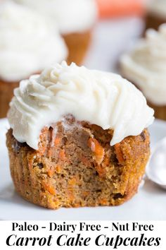 """These dreamy carrot cake cupcakes are made with coconut and tapioca flour and sweetened with maple syrup, making them both paleo and nut free. They're topped with a sweet creamy paleo vanilla """"buttercream"""" that tastes just like real thing! Paleo Carrot Cake, Carrot Cake Muffins, Carrot Cake Cupcakes, Cupcake Cakes, Egg Muffins, Paleo Sweets, Paleo Dessert, Dessert Recipes, Cupcake Recipes"""