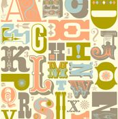 Woodtype Alphabet - Gray Colorway by pennycandy, Spoonflower digitally printed wallpaper