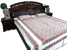 Printed Bedspread Handloom Cotton Indian Bedding Bedspreads Pillows Moroccan Bed Sheet Indian Bed Cover 90 inch x 100 inch Hippie Bedding, Indian Bedding, Bohemian Bedspread, Moroccan Bedding, Tapestry Headboard, Gypsy Home Decor, Indian Tapestry, Floral Bedding, Bed Throws