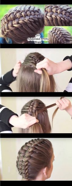 Best Hair Braiding Tutorials - How to Suspended Infinity Braid on yourself - Step By Step Easy Hair Braiding Tutorials For Long Hair, Pont Tails, Medium Hair, Short Hair, and For Wom Box Braids Hairstyles, Braided Hairstyles Tutorials, Trendy Hairstyles, Braid Tutorials, Teenage Hairstyles, Cornrows Hair, Black Hairstyles, Braids For Kids Tutorial, Short Hair Braids Tutorial