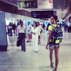 Sally Fitzgibbons -Time to fly..off on my next adventure.. @roxy Backpack locked and loaded #DAREYOURSELF