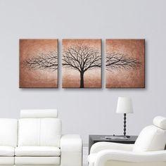 "Tree of Life Wall Art Canvas Art Home & Living Wall Decor Modern Art Painting Mocha and Brown Paintings Home Decor Trees Wall Decor 48""x20"" Todd Evans Art Studio"