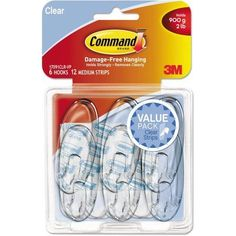 Command Clear Hooks and Strips, Plastic, Medium, 6 Hooks with 12 Adhesive Strips per Pack