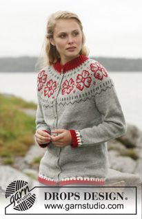 "Knitted DROPS jacket with round yoke and Nordic pattern in ""Karisma"". Size: S - XXXL. ~ DROPS Design"