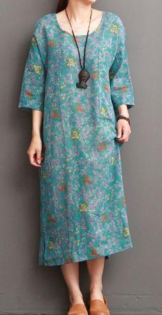blue floral linen dresses for summer half sleeve