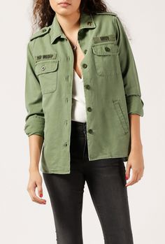 ba38d08a0f Relaxed fit and vintage washed military shirt jacket. Comes with a  screened… Paul And