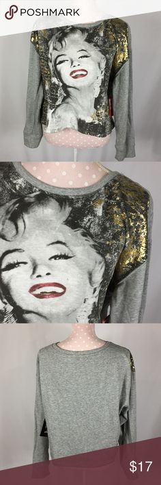 Marilyn Monroe Cropped Top Size XL Marilyn graphic on front with gold foiling Large boxy cut Cropped length  Long sleeves NWT See materials and care on pictures. See measurements on pictures. Tops Sweatshirts & Hoodies